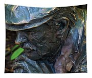 Bronze Man Sitting Tapestry