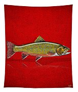Brook Trout On Red Leather Tapestry