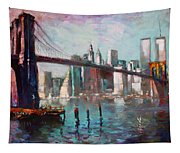 Brooklyn Bridge And Twin Towers Tapestry
