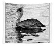 Brown Pelican - Black And White Tapestry