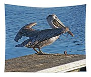 Brown Pelican Takes Flight Tapestry