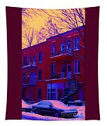 Brownstones In Winter 6 Tapestry