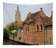 Bruges Houses With Bell Tower Tapestry