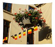 Brussels Belgium - Flowers Flags Football Tapestry