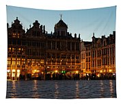 Brussels - Grand Place Facades Golden Glow Tapestry