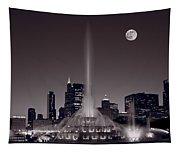 Buckingham Fountain Nightlight Chicago Bw Tapestry