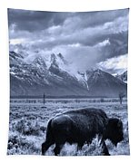 Buffalo And Mountain In Jackson Hole Tapestry