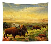 Buffalo Fox Great Plains Western Landscape Oil Painting - Bison - Americana - Historic - Walt Curlee Tapestry