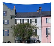Buildings In A City, Rainbow Row Tapestry