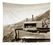 Bull Dozer Road Construction On Highway One Big Sur Circa 1930 Tapestry
