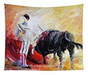 Bull In Yellow Light Tapestry