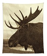 Bull Moose In Sepia Tapestry