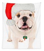 Bulldog Santa Tapestry