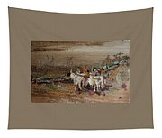 Bullock Cart On Cross Country Road  Tapestry