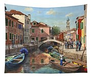 Burano Canal Venice Tapestry