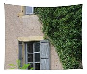 Wood Shutters With Vine Tapestry