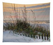 Buried Fence And Sea Oats Sunrise Tapestry