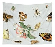 Butterflies Moths And Other Insects With A Sprig Of Apple Blossom Tapestry