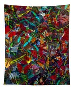 Butterfly Collage Red Tapestry