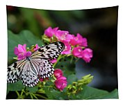 Butterfly Pollinating Flower Tapestry