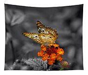 Butterfly Wings Of Sun Light Selective Coloring Black And White Digital Art Tapestry