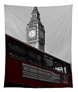 Bw Big Ben And Red London Bus Tapestry