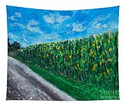 By An Indiana Cornfield The Road Home Tapestry