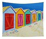 Cabana Row - Colorful Beach Cabanas Tapestry