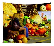 Cabbage Patch Kids - Giant Pumpkins - Marche Atwater Montreal Market Scene Art Carole Spandau Tapestry