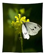 Cabbage White Butterfly On Yellow Flower Tapestry