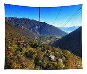 Cableway Over The Mountain Tapestry