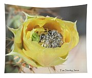 Cactus Flower With Ball Of Bees Tapestry