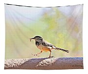 Cactus Wren With Worm Tapestry