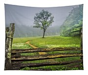 Cades Cove Misty Tree Tapestry