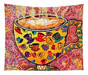 Cafe Latte - Coffee Cup With Colorful Coffee Cups Some Pink And Bubbles  Tapestry