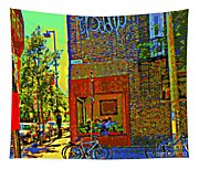 Cafe Window Corner Rue Fabre Near The Bicycle Stand Art Of Montreal Summer Street Scene  Tapestry
