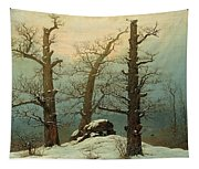 Cairn In Snow Tapestry