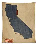 California Map Denim Jeans Style Tapestry