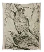 California Quails Lithograph Tapestry