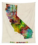California Watercolor Map Tapestry by Michael Tompsett