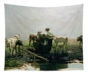 Calves At A Pond, 1863 Tapestry