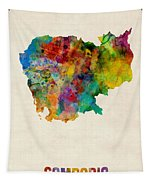 Cambodia Watercolor Map Tapestry