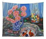 Camellias With Glass Beads Tapestry