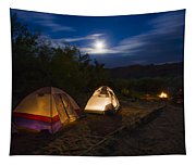 Campfire And Moonlight Tapestry