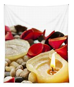 Candle And Petals Tapestry