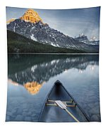 Canoe At Lower Waterfowl Lake With Tapestry