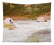 Canoe Tent Camp At Yukon River In Taiga Wilderness Tapestry