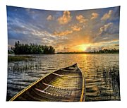 Canoeing At Sunrise Tapestry