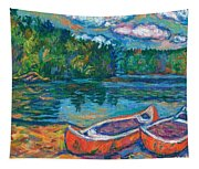 Canoes At Mountain Lake Sketch Tapestry