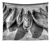 Canoes In Black And White Tapestry